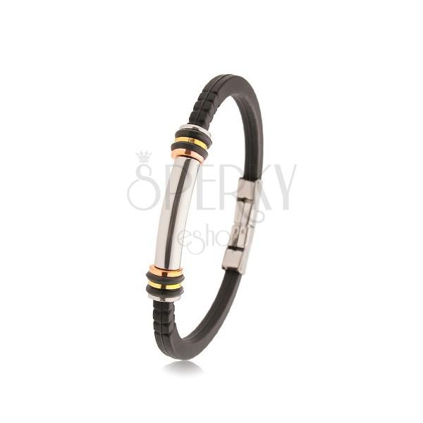 Náramok gumený čierny, oceľový valček, trojfarebné kruhy, gumené kolieska