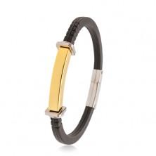Čierny náramok z gumy, oceľová známka zlatej farby, štvorce a kruhy po stranách