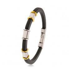 Gumený čierny náramok so zárezmi, oceľové ozdoby striebornej a zlatej farby