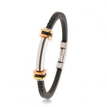 Náramok z čiernej gumy so zárezmi, oceľový valček, dvojfarebné štvorce