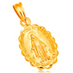 Šperky eshop - Prívesok zo žltého 14K zlata - oválny medailón Panny Márie, obojstranný GG204.30