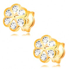 Náušnice zo žltého 14K zlata - kvietok s hladkými obrysmi a čírymi zirkónmi