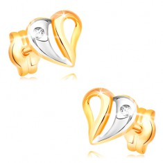 Náušnice v žltom a bielom 14K zlate - dvojfarebné srdce s výrezmi a zirkónom