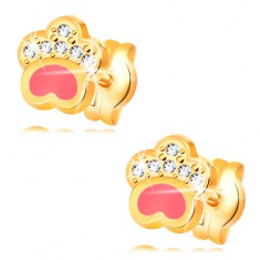 3a6233766 Šperky eshop - Náušnice zo žltého 14K zlata, psia labka s ružovou glazúrou  a zirkónmi GG32.25