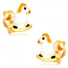 Puzetové náušnice v žltom zlate 14K - biely hojdací koník so žltou hrivou
