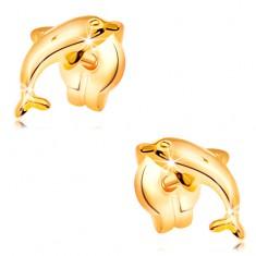 Šperky eshop - Náušnice zo žltého 14K zlata - delfín vo výskoku, lesklý vypuklý povrch GG32.23