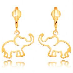 Náušnice zo žltého 14K zlata - kontúra slona visiaca na lesklom oblúku
