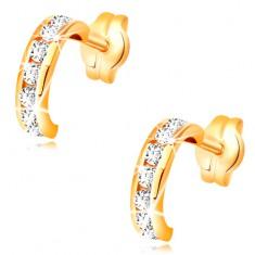 f8e1d6783 Šperky eshop - Náušnice v žltom 14K zlate - malé polkruhy vykladané čírymi  zirkónmi GG33.