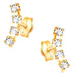Náušnice v žltom 14K zlate - oblúk zo štyroch drobných čírych zirkónov