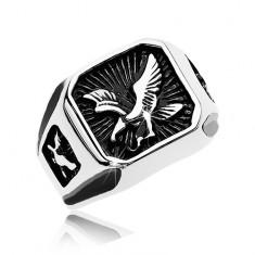Mohutný prsteň z ocele 316L, čierny patinovaný štvorec s dravým vtákom