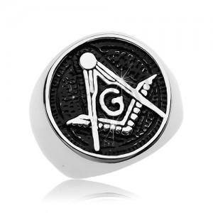 Prsteň z chirurgickej ocele, symbol slobodomurárov v patinovanom kruhu