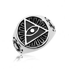 Prsteň z ocele 316L, čierny patinovaný kruh a trojuholník s okom