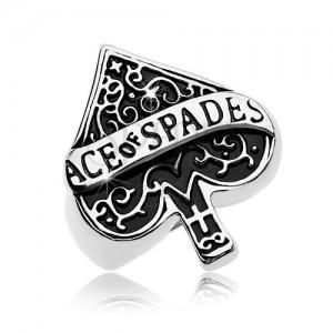 Mohutný prsteň z ocele 316L, patinovaný symbol pikového esa, nápis