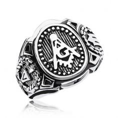 Prsteň z chirurgickej ocele, veľký ovál a symboly slobodomurárov