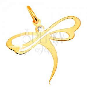Prívesok v žltom 14K zlate - vážka so vsadeným zirkónom a výrezmi na krídlach