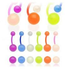Bioflex piercing do pupka - guličky s malými bublinkami, svietiaci v tme