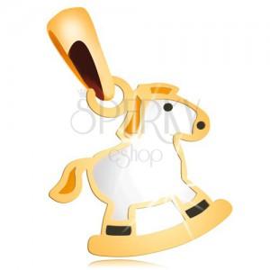 Prívesok v žltom 14K zlate - biely hojdací koník so žltou hrivou