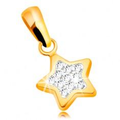 Prívesok zo žltého zlata 585 - trblietavá päťcípa hviezda, číre zirkóny