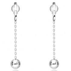Šperky eshop - Visiace zlaté náušnice 585 - lesklá gulička na retiazke 57dbf44e0b2