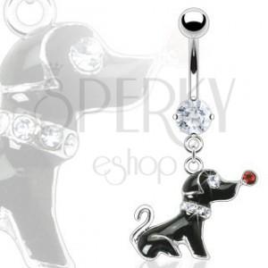 Piercing do pupku - čierny psík so zirkónmi
