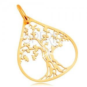 Prívesok v žltom 14K zlate - košatý strom v kontúre veľkej kvapky