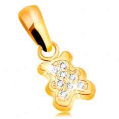Prívesok zo žltého zlata 585 - malý medvedík zdobený čírymi zirkónmi