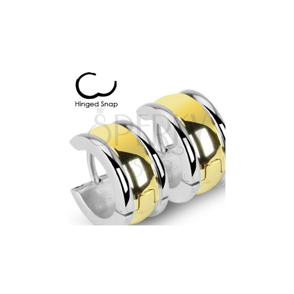 Dvojfarebné oceľové náušnice s vypuklým pruhom a úzkymi okrajmi