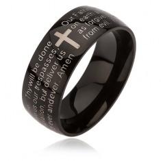 Čierny prsteň z chirurgickej ocele, kríž striebornej farby, modlitba Otčenáš, 6 mm