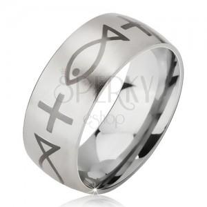 Matný prsteň z chirurgickej ocele striebornej farby, potlač kríža a ryby, 6 mm