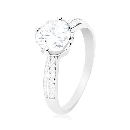 Zásnubný prsteň, striebro 925, číry okrúhly zirkón v dekoratívnom kotlíku - Veľkosť: 62 mm