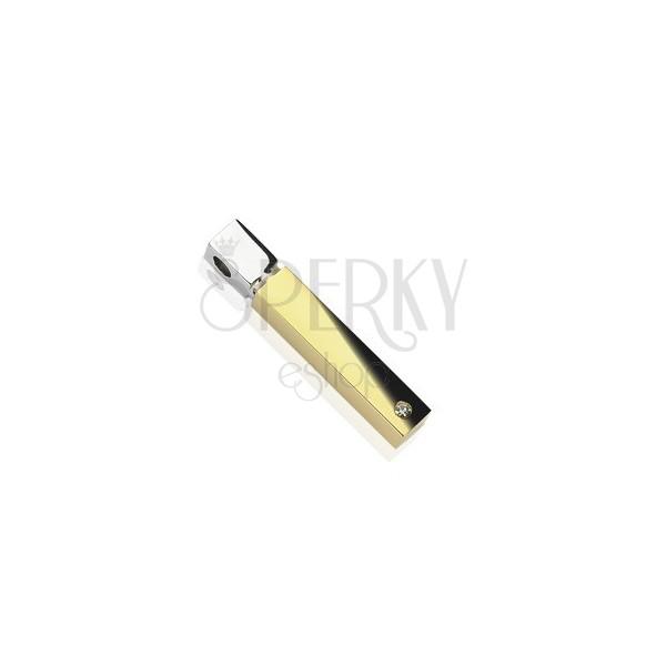 Oceľový prívesok kváder zlato-striebornej farby, zirkón