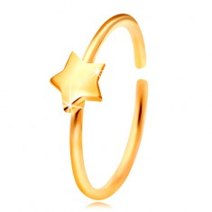 Zlatý 14K piercing do nosa, lesklý krúžok s hviezdičkou, žlté zlato