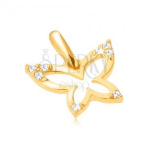 Zlatý prívesok 585 - ligotavý obrys motýľa, zirkónové cípy krídel