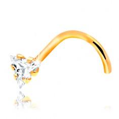 Zahnutý piercing do nosa - žlté 14K zlato, číry zirkónový trojuholník