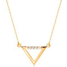 Šperky eshop - Náhrdelník zo žltého 14K zlata - kontúra trojuholníka zdobená čírymi zirkónmi GG208.12