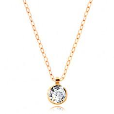 99762e65f Šperky eshop - Zlatý náhrdelník 585 - okrúhly číry zirkón, lesklá retiazka  z oválnych očiek GG208.05