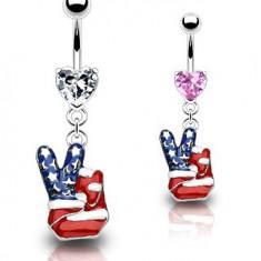 Šperky eshop - Piercing do pupku - americký mier N25.7 - Farba piercing: Číra