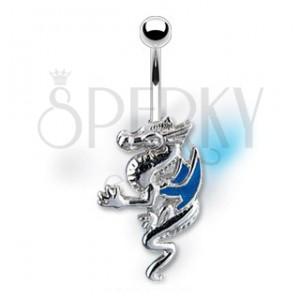 Piercing do pupku drak s modrými krídlami