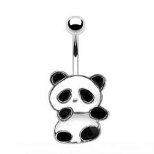 Oceľový piercing do pupku - panda s bielou a čiernou glazúrou