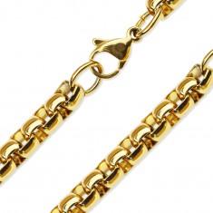 Šperky eshop - Retiazka z ocele 316L zlatej farby, lesklé oválne očká AA06.27/30 - Hrúbka: 3 mm