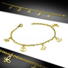 Šperky eshop - Oceľový náramok zlatej farby, retiazka z oválnych očiek, kotvy a motýle AA03.18