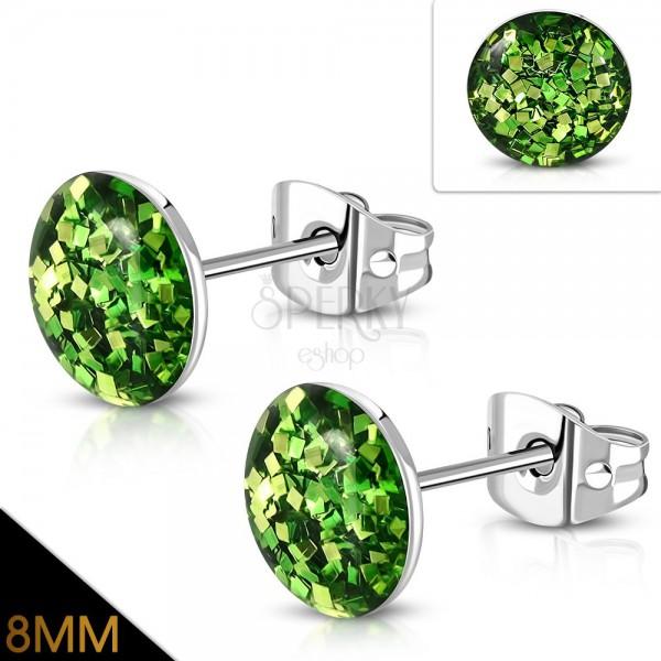 Náušnice z ocele 316L - trblietavé zelené glitre zaliate čírou glazúrou