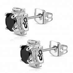 Šperky eshop - Náušnice z chirurgickej ocele - maltézsky kríž s čiernym zirkónom AA08.02