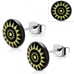 Náušnice z ocele 316L, žlté slnečné kruhy na čiernom podklade