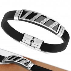 Šperky eshop - Náramok z čiernej gumy, známka striebornej farby s čiernymi šikmými pásmi AA37.08