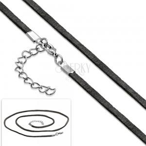Sivá šnúrka na prívesok, nastaviteľná dĺžka, karabínka