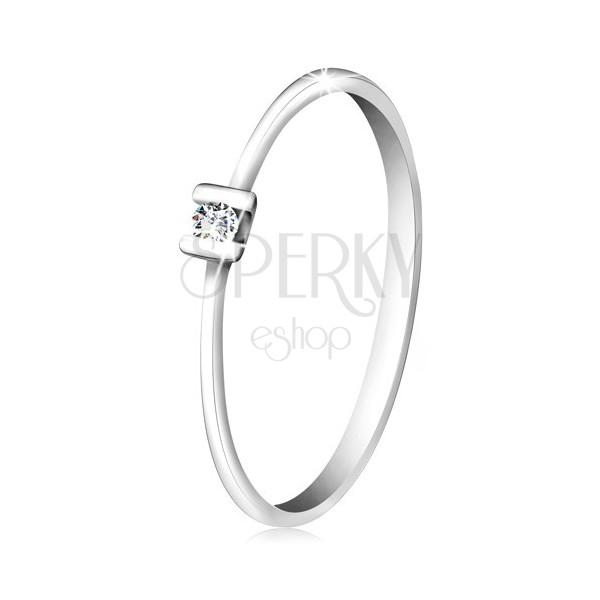 Briliantový prsteň z bieleho zlata 585 - trblietavý číry diamant uchytený paličkami
