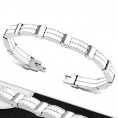 Šperky eshop - Náramok z ocele a gumy, články striebornej farby, biele gumené dieliky AA40.07