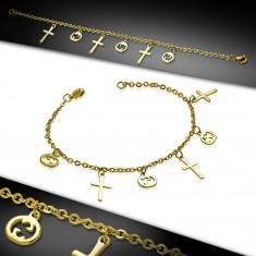 Šperky eshop - Retiazka na ruku alebo nohu z ocele 316L zlatej farby, krížiky a tekvice AA41.18