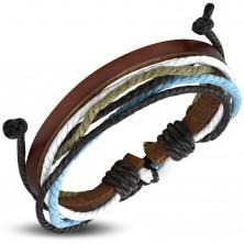 Šnúrkovo-koženkový náramok, úzky hnedý pás umelej kože, farebné šnúrky